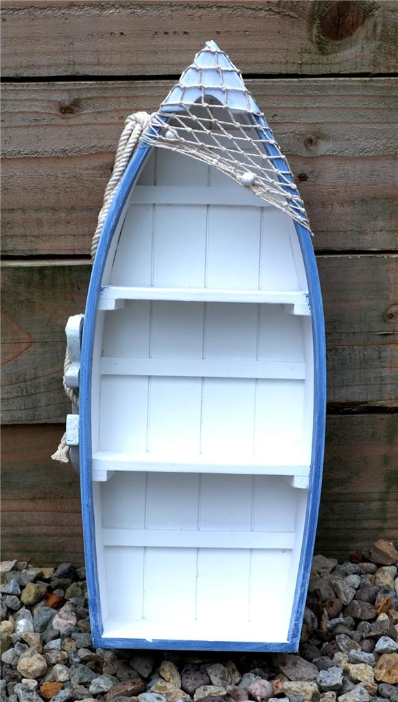 103cm wooden blue white rowing boat shelves nautical