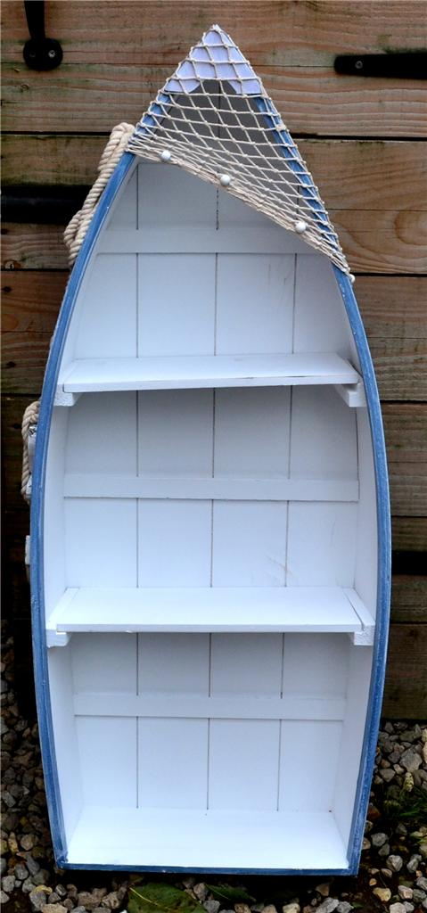 ... WOODEN-BLUE-amp-WHITE-ROWING-BOAT-SHELVES-Nautical-Seaside-Shelf-Unit