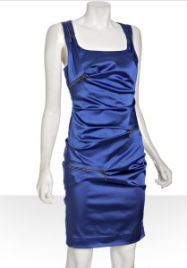 NICOLE MILLER STRETCH SATIN DRESS, Black, 0P, 10P, $345