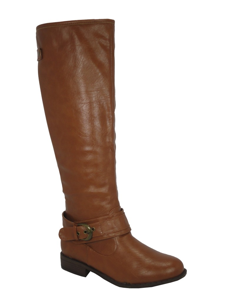 bamboo montage 08 chestnut buckle knee high boots