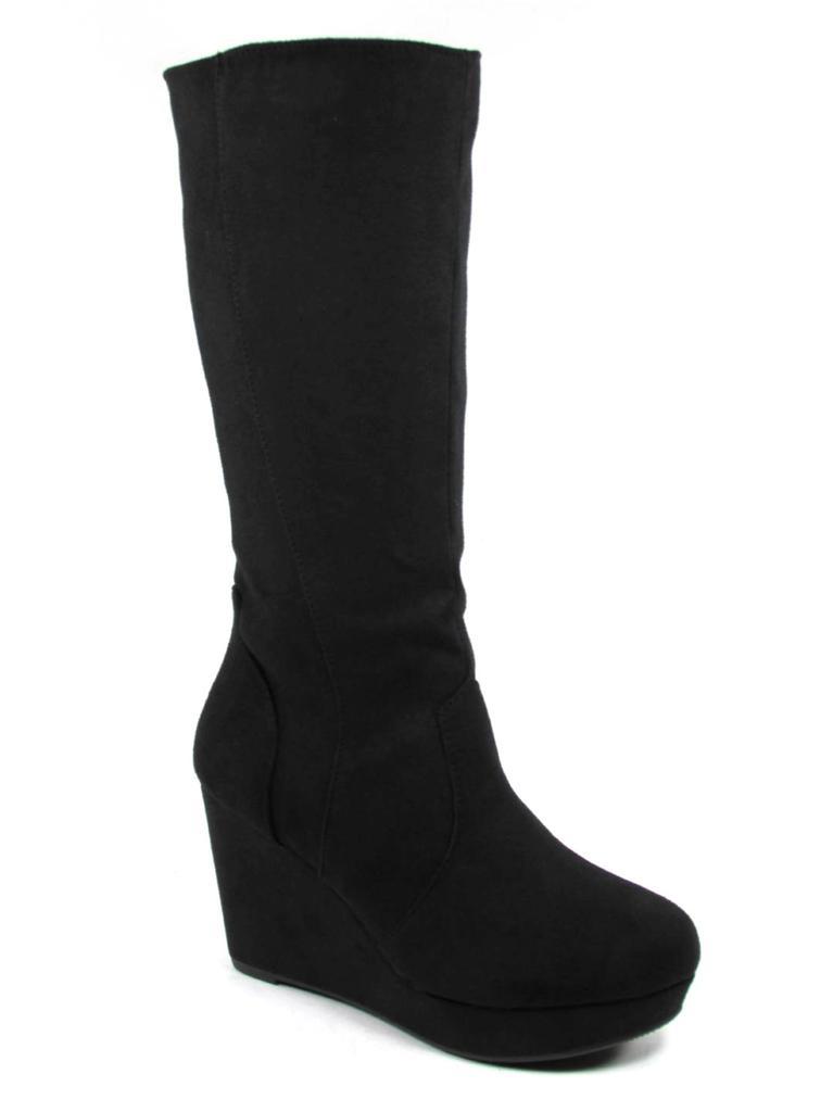 soda ideal s suede toe knee high wedge boot ebay
