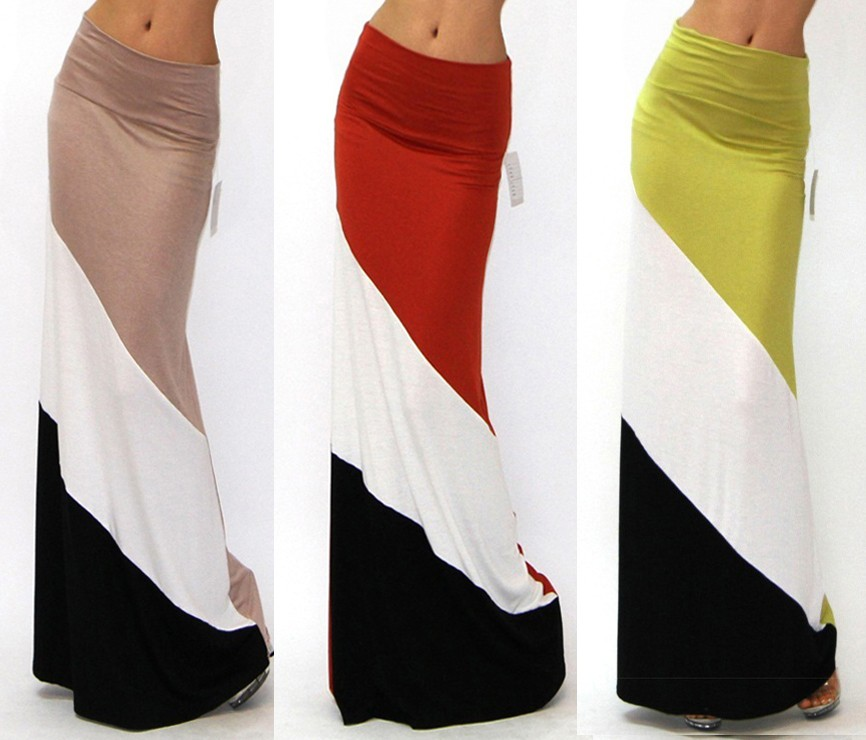 BEIGE COLOR BLOCKED MINIMAL CASUAL FIT JERSEY KNIT FOLD OVER WAIST MAXI SKIRT S