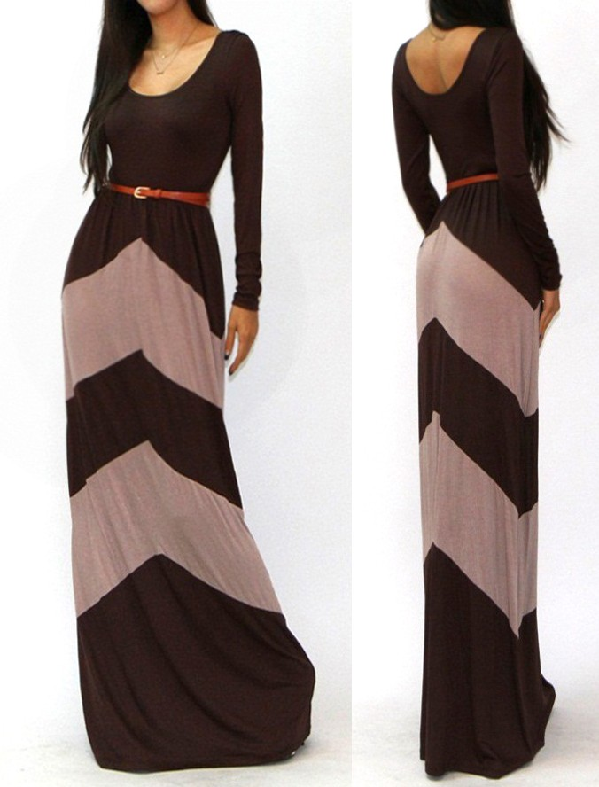 BROWN BEIGE CHEVRON COLOR BLOCKED LONG SLEEVE EMPIRE WAISTED MAXI DRESS S M L