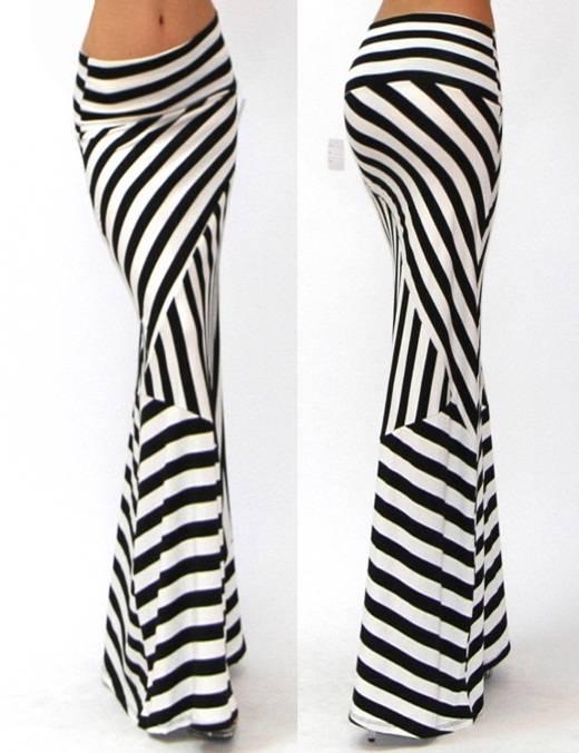black white asymmetric striped fold waist rayon