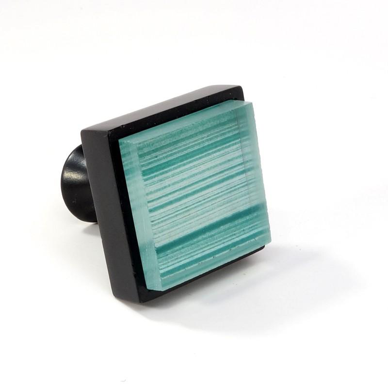 Crystal Glass Black Metal Square Knob Modern Cabinet