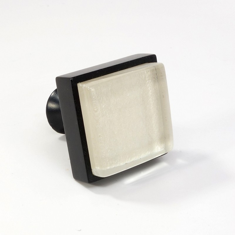Crystal Glass Black Metal Square Knob Modern Cabinet