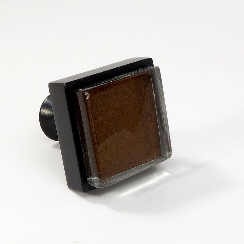Crystal glass black metal square knob modern cabinet for Contemporary cabinet hardware pulls