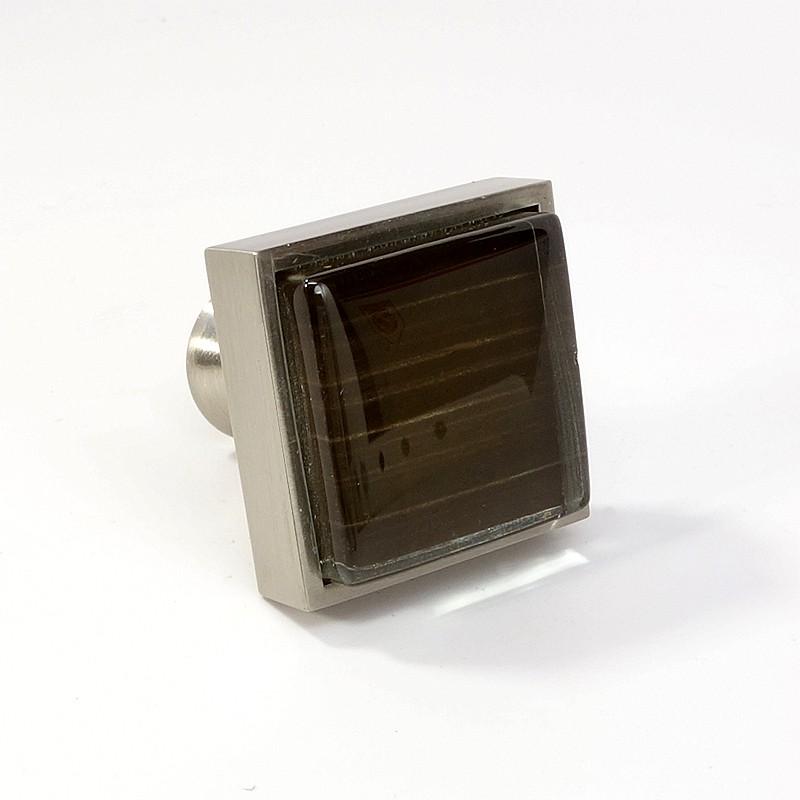 Crystal Glass Brushed Nickel Square Knob Modern Cabinet
