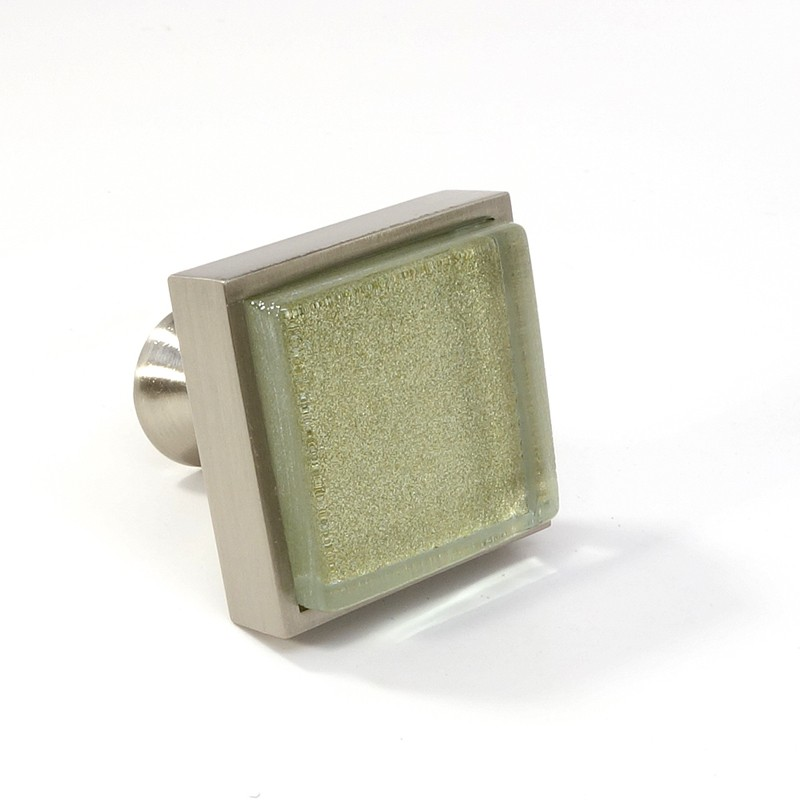 Crystal Knobs Kitchen Cabinets: Crystal Glass Brushed Nickel Square Knob Modern Cabinet