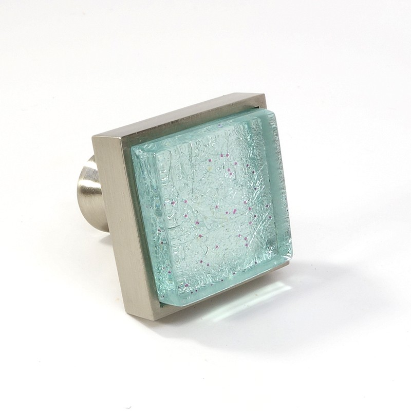 Crystal Glass Brushed Nickel Square Knob Modern Cabinet Kitchen ...