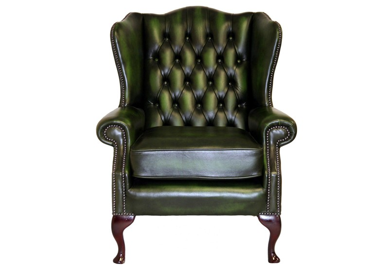 leather chesterfield high back wing chair brand new ebay