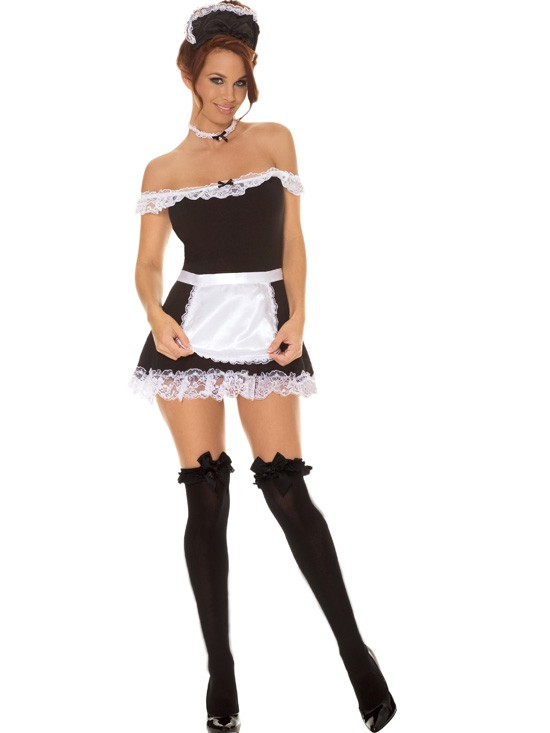 Sexy-Maid-Dress-Apron-Hat-Womens-Adult-Costume-French-Black-White-9395