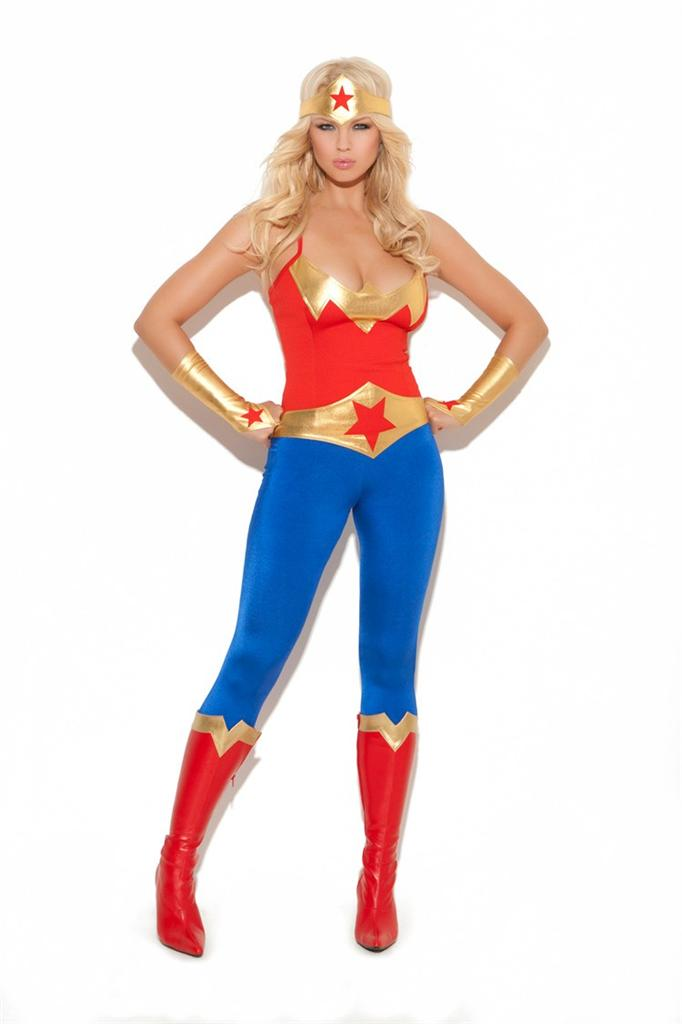 Super Hero Costume Cami Top Pants Gloves Hat Belt Wonder ...