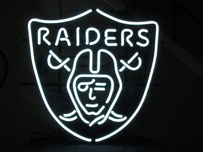 Authentic Oakland Raiders Logo NFL Football Neon Bar Sign #0: tp