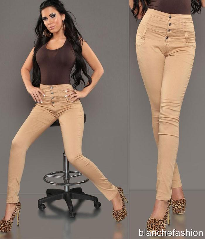 Sexy Women&amp039s High Waist Skinny Beige Jeans Stretchy Fabric
