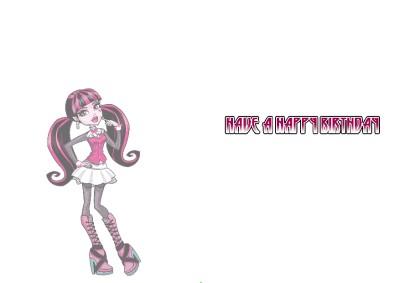 personalised monster high draculaura birthday card  ebay, Birthday card