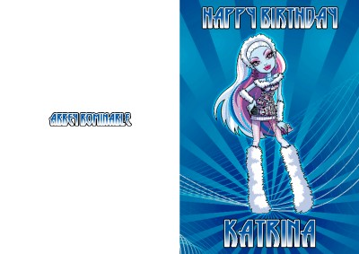 personalised monster high abbey bominable birthday card  ebay, Birthday card