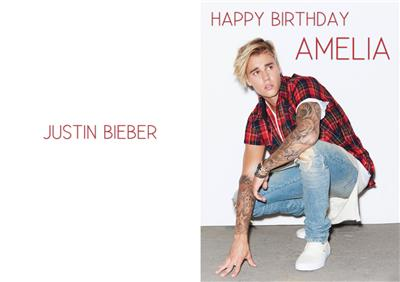 personalised justin bieber birthday card  ebay, Birthday card