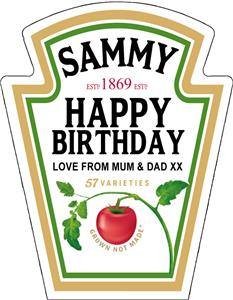 Personalised spoof ketchup bottle label birthday any for Heinz label template
