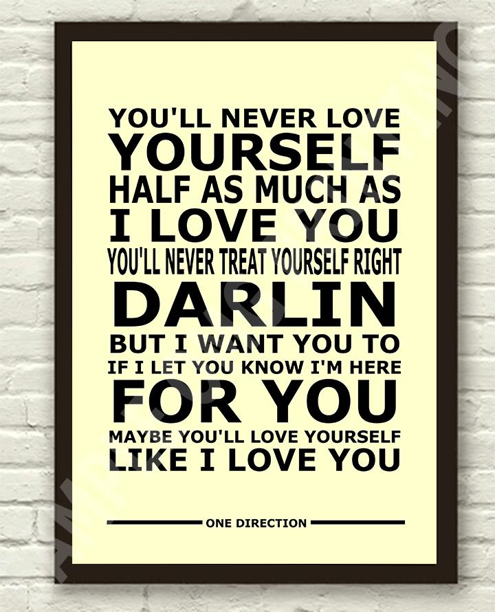 One Direction Little Things Lyrics Typography Art Poster ...