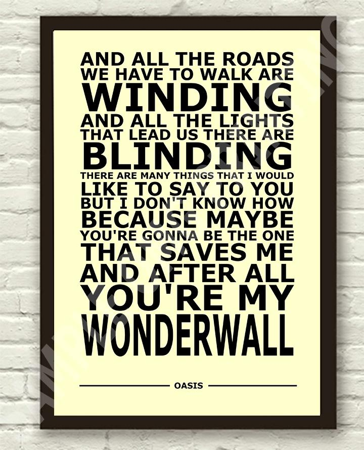 Oasis-Wonderwall-Lyrics-Typography-Subway-Art-Poster-Print-A4-A3-6x4-10x15cm