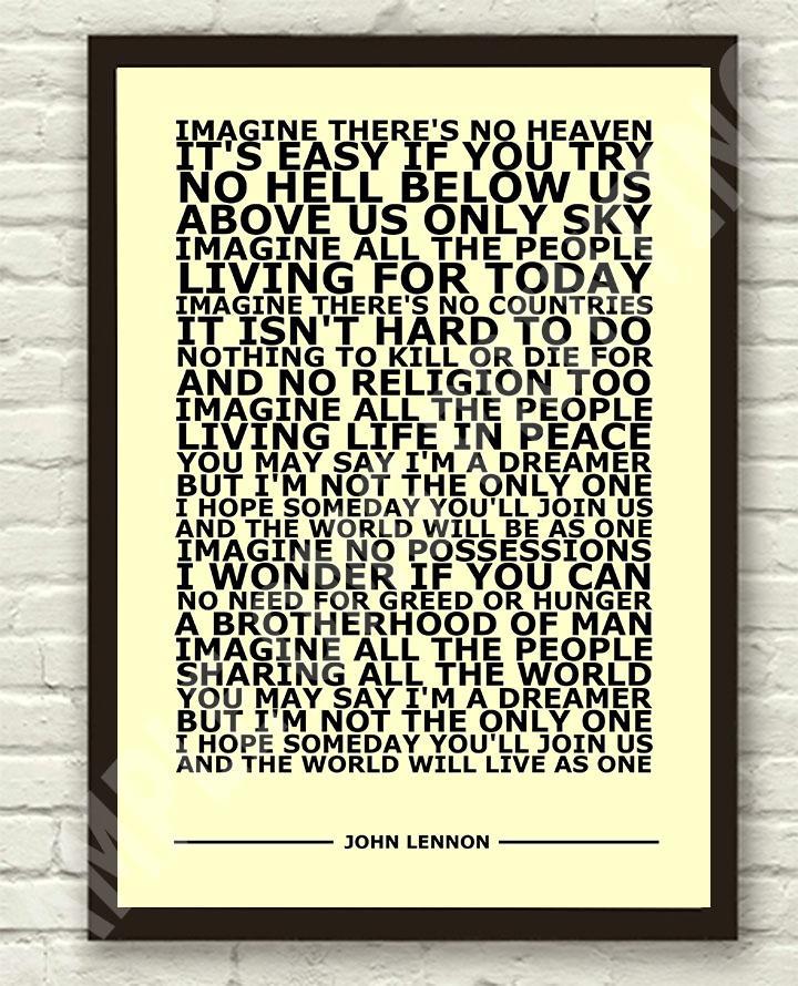 Image Is Loading John Lennon Imagine Typography Lyric Art Poster Print
