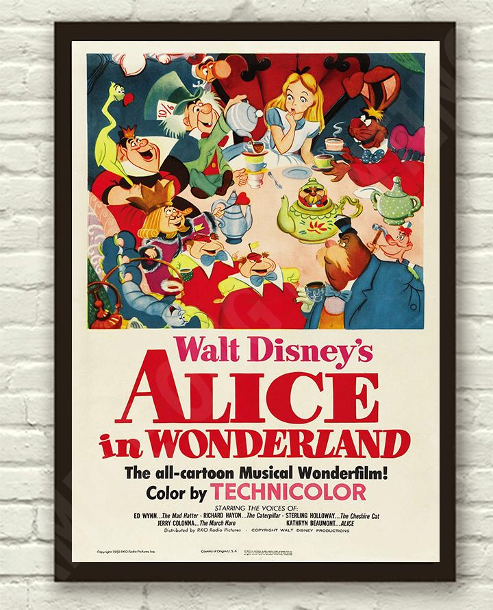 Vintage-Disneys-Alice-in-Wonderland-Movie-Film-Poster-Print-Picture-A3-A4