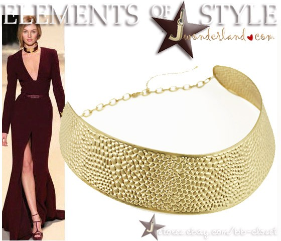 Top Fashion Style Matte Choker Collar Bib Necklace ~ Black or Gold