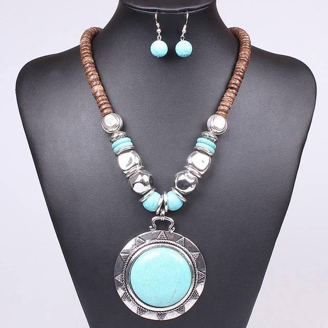 старинные бирюзовый женщин сплава (ожерелья и серьги) комплект ювелирных изделий распродажа со скидкой