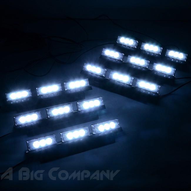 car truck 54 led white emergency strobe lights dash board flashing. Black Bedroom Furniture Sets. Home Design Ideas