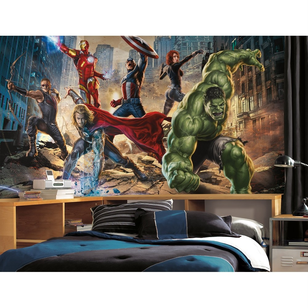 Boys wall murals spiderman batman avengers cars superman for Boys mural wallpaper