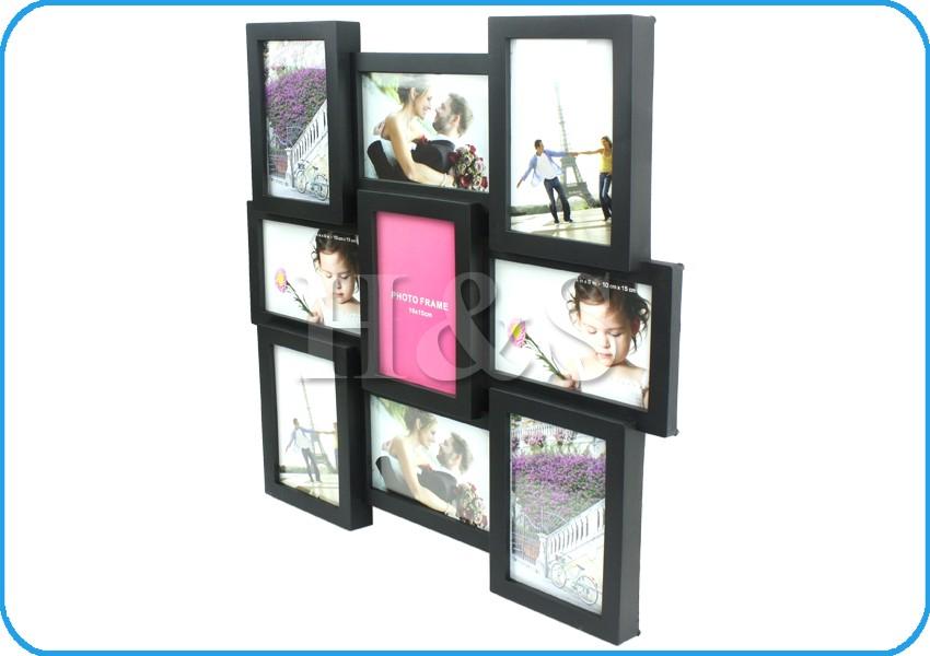 multi collage photo picture frame 4 x 6 aperture wall black white 9 square large ebay. Black Bedroom Furniture Sets. Home Design Ideas