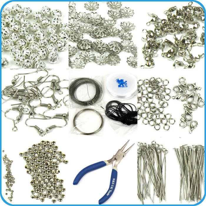 Findings Set Large Jewellery Making Kit Pliers Silver