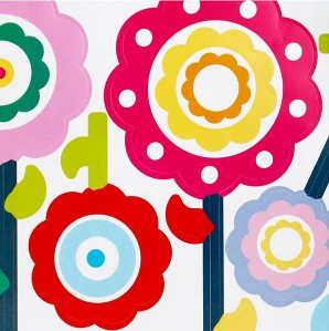 FLOWER POPS Removable Wall Stickers Large Size 50x70cm