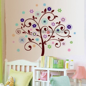 LARGE FLOWER TREE   Removable Wall Stickers Girls Decor