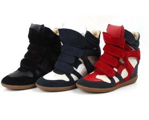Leather-Womens-Hidden-Wedge-Heels-High-Top-Round-Toe-Ankle-Boot-Sneaker-Shoes-AU