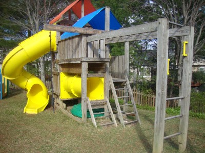 Detailed plans blue prints to build kids play set slide for Build a swing set playhouse