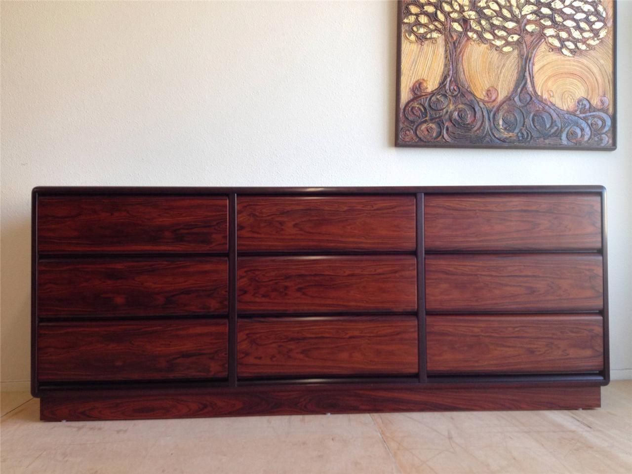 danish mid century modern vintage long brouer rosewood dresser chest of drawers ebay. Black Bedroom Furniture Sets. Home Design Ideas