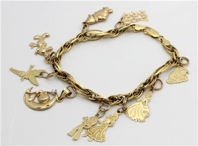 14k gold disney charm bracelet yellow gold 9 charms ebay