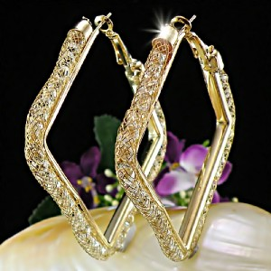Mesh with Clear Swarovski Crystals Square Hoop Earrings E309