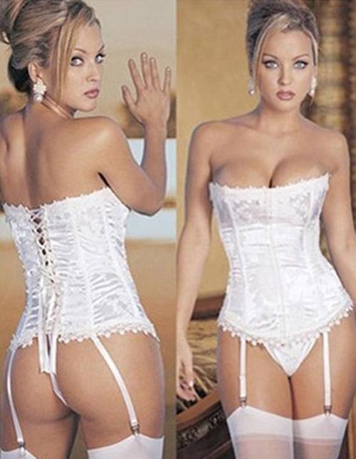Sexy-Women-Lady-Bride-Pattern-Boned-Lace-Up-Corset-Bustier-Lingerie-G-String