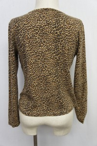 Jones New York Brown/Black Leopard Print Long Sleeve Blouse Sz PM