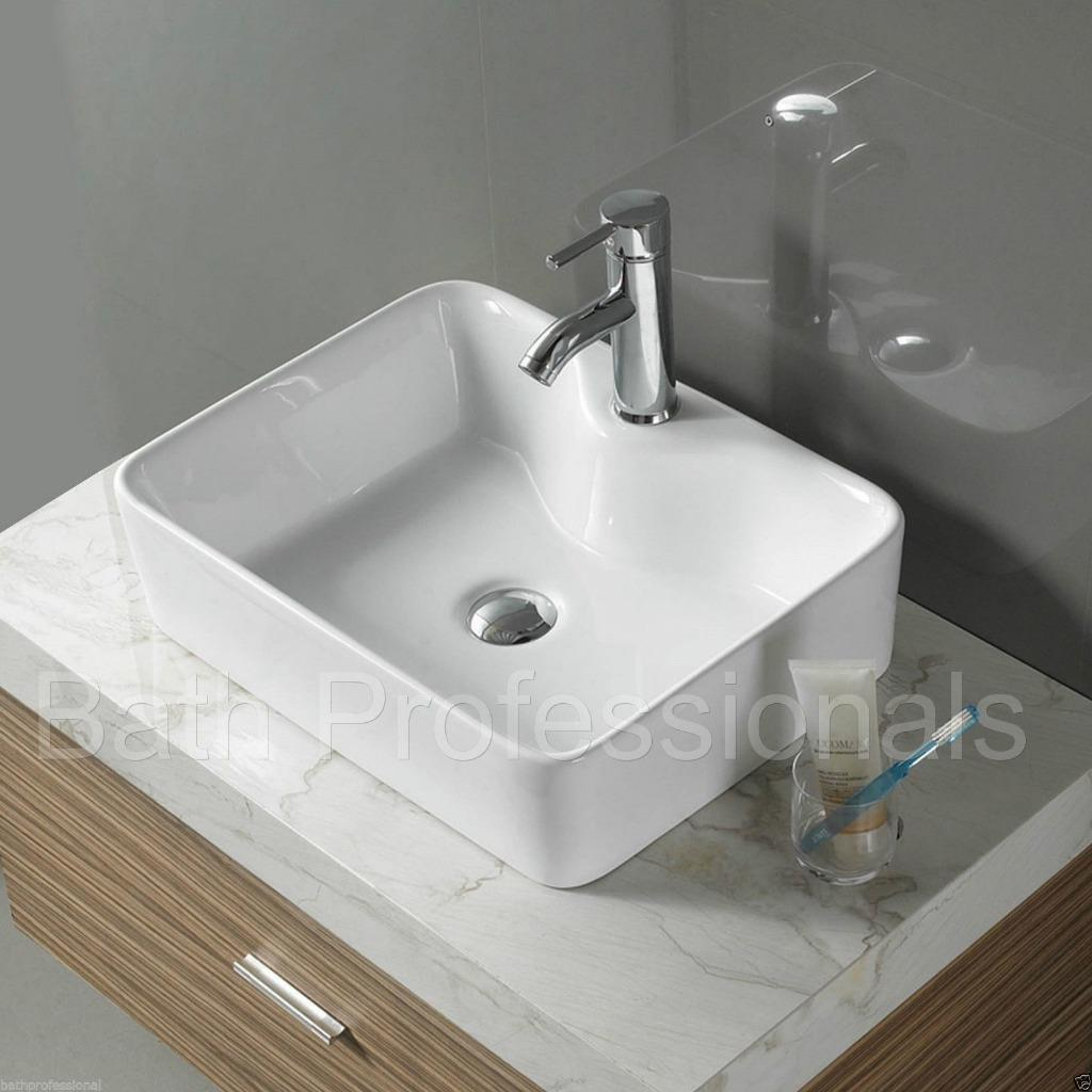 Basin Sink Bathroom Ceramic Countertop Square Cloakroom