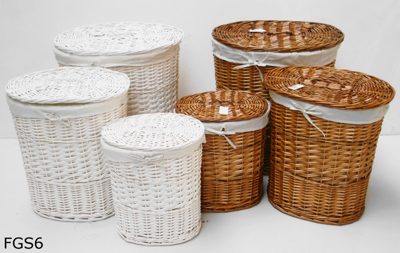 Brown or white oval wicker laundry basket with lid and removable cotton lining ebay - Rattan laundry basket with lid ...