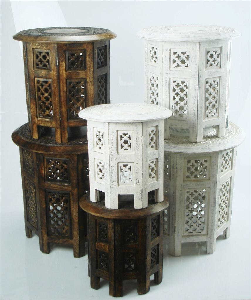 Indian Wood Coffee Table Uk: Beautiful Round Brown & White Hand Carved Indian Wooden