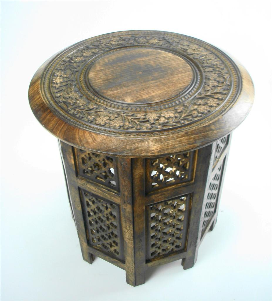 Beautiful round brown white hand carved indian wooden coffee table side ebay Carved wood coffee table