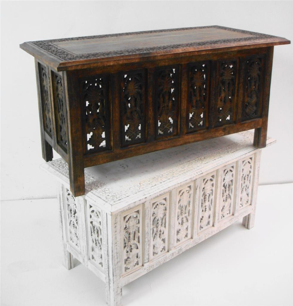 Beautiful brown or white hand carved indian wooden coffee Beautiful end tables