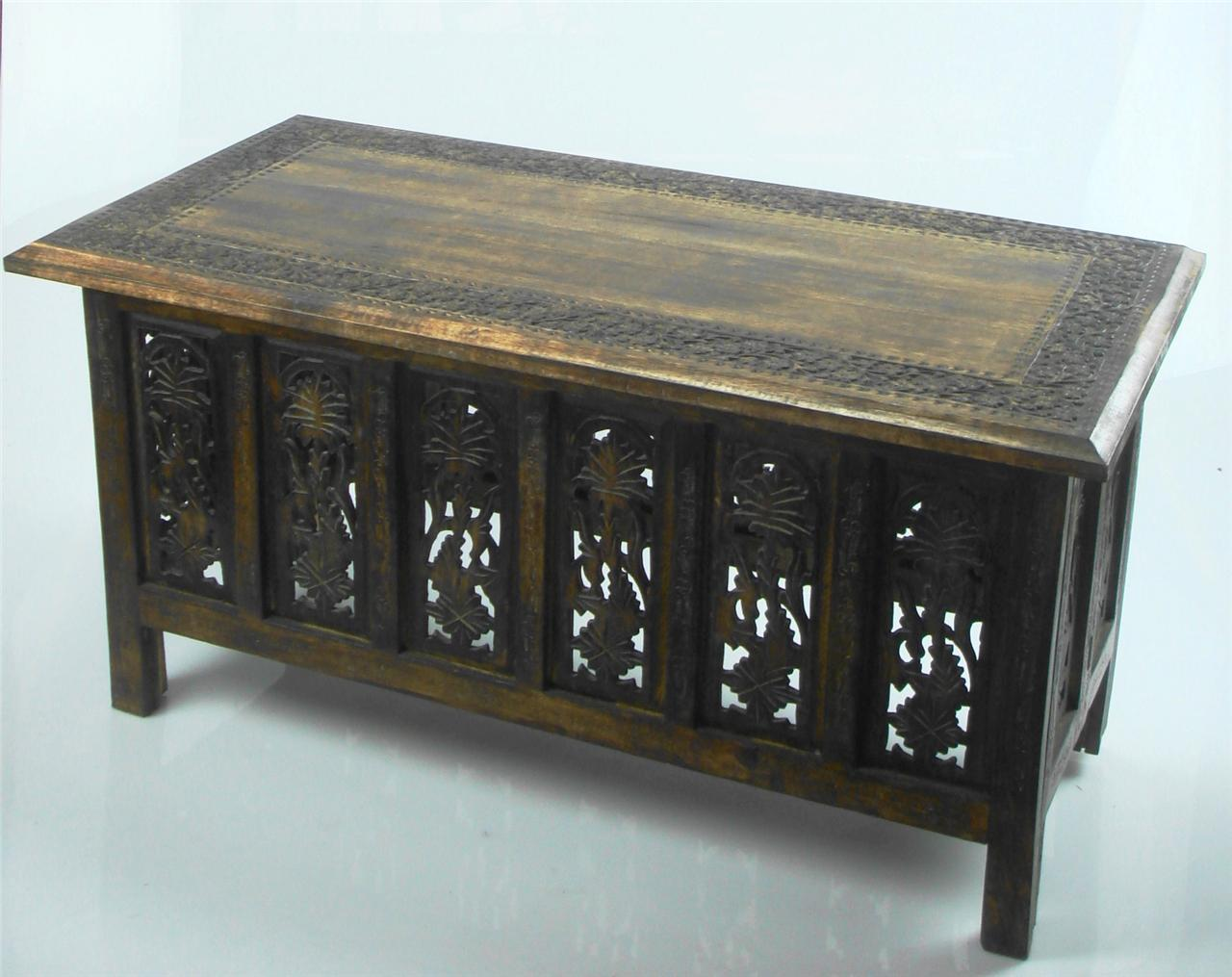 Beautiful brown or white hand carved indian wooden coffee table side tables ebay Hand carved coffee table