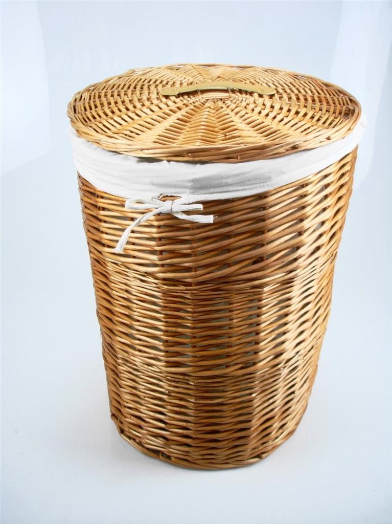 Brown White Honey Wicker Round Laundry Basket Bin Toilet