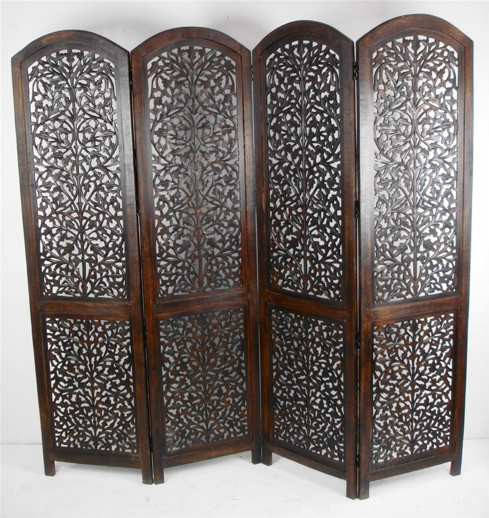 Carved Wooden Screens ~ Panel hand carved indian screen wooden divider